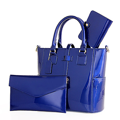 Žene Patent-zatvarač Patent Leather / PU Bag Setovi Kompleti za vrećice Jedna barva 3 kom Crn / Crvena / Plava / Jesen zima