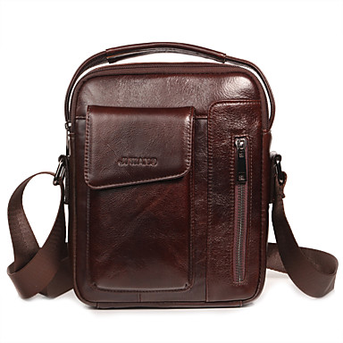 aeeddc833d Men s Bags Nappa Leather Shoulder Bag Zipper Solid Color Black   Dark Brown