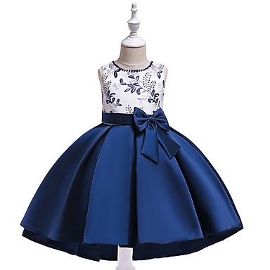 رخيصةأون ملابس الأميرات-فستان غير متماثل بدون كم بقع / طباعة ورد / بقع مناسب للحفلات / مناسب للعطلات رياضي Active / حلو للفتيات أطفال
