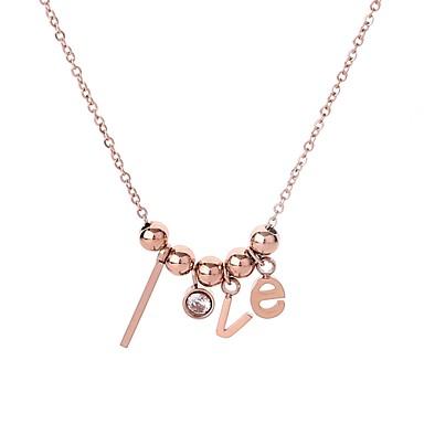 da255128696d Mujer Circonita Clásico Collar de cuentas Acero inoxidable Titanio Acero  damas Simple Colgante Hippie Bonito Oro Rosa 46 cm Gargantillas Joyas 1pc  Para ...