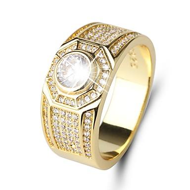 Muškarci Band Ring Kubični Zirconia 1pc Zlato Titanij Čelik Circle Shape Klasik Vintage Elegantno Vjenčanje Dnevno Jewelry Vintage Style