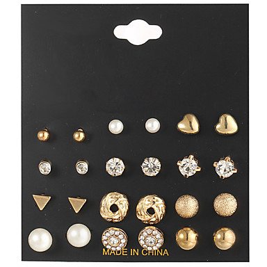 687aeb411 Women's Clear Clear Crystal Retro Earrings Set - Heart, Ball Bohemian,  Fashion, Elegant Gold / Silver For Daily Date / 12 Pairs