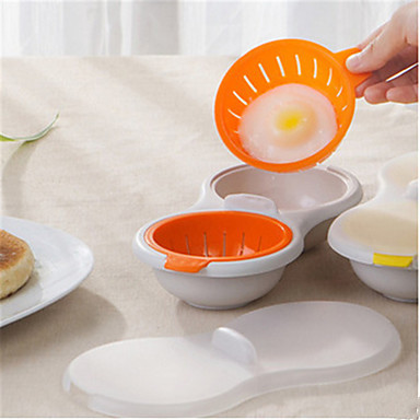 cheap Kitchen Utensils & Gadgets-Microwave Egg Poacher Cookware Double Cup Dual Cave Egg Cooker Egg Poaching Cups
