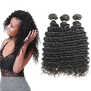 3 zestawy Włosy brazylijskie Deep Wave Włosy naturalne remy Doczepy z naturalnych włosów 8-22 in Ludzkie włosy wyplata Miękka Najwyższa jakość Nowości Ludzkich włosów rozszerzeniach Damskie