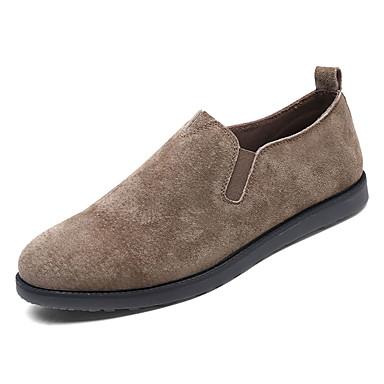 בגדי ריקוד גברים נעלי נוחות עור חזיר אביב יום יומי נעליים ללא שרוכים נושם שחור / אפור / חאקי