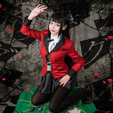 Esinlenen Kakegurui Yumeko Jabami Anime Cosplay Kostümleri Cosplay Takımları Pötikare Uzun Kollu Kravat / Etekler / Palto Uyumluluk Kadın's