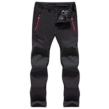 Men's Solid Color Hiking Pants Softshell Pants Outdoor Windproof Fleece Lining Breathable Rain Waterproof Autumn / Fall Winter Softshell Pants / Trousers Bottoms Hunting Ski / Snowboard Hiking Black