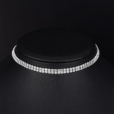 4db919e440b Mujer Gargantillas Cadena de tenis Simple Moda Elegante Cromo Diamante  Sintético Plata 35 cm Gargantillas Joyas 1pc Para Boda Fiesta de Noche