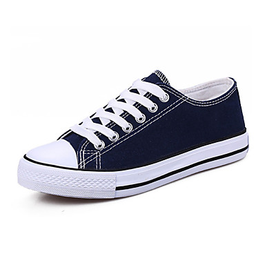 povoljno Ženske cipele-Žene Platno Jesen zima Sneakers Ravna potpetica Okrugli Toe Crn / Crvena / Plava