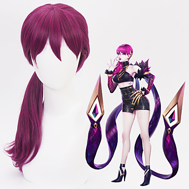 Cosplay KDA Evelynn Tous 24 pouce Fibre résistante à la chaleur Violet Manga Perruques de Cosplay