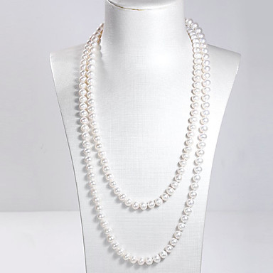 abordables Collier-Collier Multirang collier enveloppant Collier multi-rang Femme Double Perle d'eau douce Argent sterling Acier inoxydable Perle d'eau douce dames Naturel Mode Elégant Blanc 120 cm Colliers Tendance
