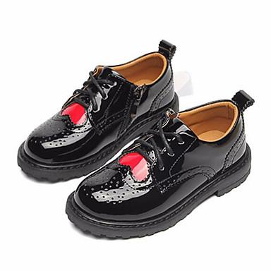 hesapli Kız Çocuk Ayakkabıları-Genç Kız PU Oxford Modeli Bebek (9 milyon 4ys) / Küçük Çocuklar (4-7ys) / Büyük Çocuklar (7 yaş +) Rahat Siyah / Şarap İlkbahar & Kış