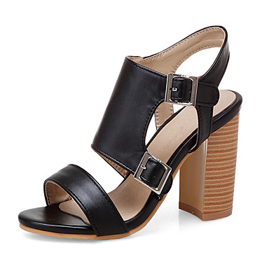 ac44030f66f Women s Faux Leather Spring   Summer Sandals Chunky Heel Open Toe Black    Black   White   Black   Red