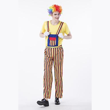 Laborioso Burlesque Pagliaccio Circo Vestito Da Serata Elegante Per Adulto Per Uomo Divertenti Halloween Natale Halloween Carnevale Feste - Vacanze Poliestere Giallo Costumi Carnevale Strisce #07105501