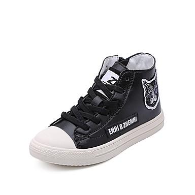 Aspirante Da Ragazzo Scarpe Microfibra Primavera & Autunno Comoda Sneakers Per Per Ragazzi Nero - Beige #07109099
