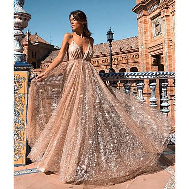 Women's Party / Evening Maxi Dress Asymmetrical Slim Swing Dress Backless / Sequins Strap Beige L XL XXL