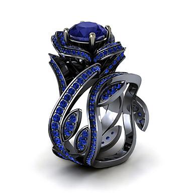 abordables Bague-Bague Fantaisie Grosse Femme Zircon Classique Fleur Luxe Original Bagues Tendance Bijoux Vert Bleu Bleu clair Cool Adorable pour Soirée Cadeau Rendez-vous 1pc