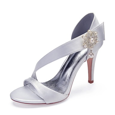 Women s Satin Spring   Summer Sweet Wedding Shoes Stiletto Heel Round Toe  Pearl   Imitation Pearl Burgundy   Champagne   Ivory   Party   Evening eaf0b4990797