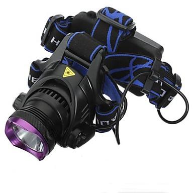 billige Lommelykter & campinglykter-Hodelykter 1800 lm LED LED 1 emittere 3 lys tilstand med batterier og ladere Vanntett Oppladbar Camping / Vandring / Grotte Udforskning Dagligdags Brug Sykling