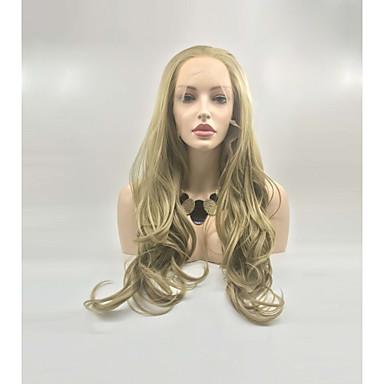 Pruik Lace Front Synthetisch Haar Dames BodyGolf / Diepe Golf Goud Gelaagd kapsel 130% Human Hair Density Synthetisch haar 24 inch(es) Dames Goud Pruik Lang Kanten Voorkant Honey Blonde Sylvia