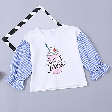 baratos Blusas para Meninas-Bébé Para Meninas Activo Básico Diário Para Noite Sólido Estampado Manga Longa Longo Algodão Blusa Branco