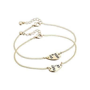 abordables Bracelet-2pcs Bracelet d'amitié Femme prénom Lolita Ecolière Coréen Bracelet Bijoux Dorée Argent pour Soirée Cadeau Ecole Vacances