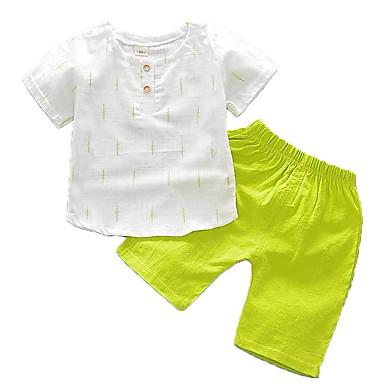 c8a4fd43e882c Baby Boys' Basic Daily Print Short Sleeve Regular Regular Cotton Clothing  Set Green / Toddler