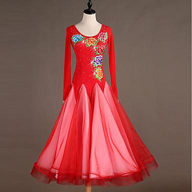 Für den Ballsaal Kleider Damen Leistung Elasthan Stickerei / Kombination / Kristalle / Strass Langarm Kleid