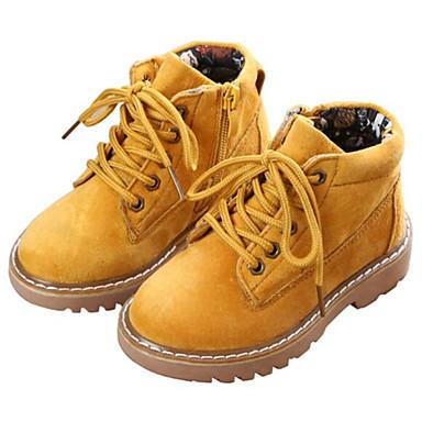 baratos Sapatos de Criança-Para Meninas Couro de Porco Botas Criança (9m-4ys) / Little Kids (4-7 anos) Conforto / Coturnos Preto / Amarelo / Verde Outono / Botas Curtas / Ankle