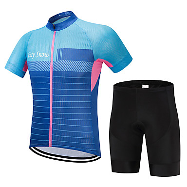 c229ef666 FirtySnow Men s Short Sleeve Cycling Jersey with Shorts - Blue Stripes Bike  Clothing Suit Breathable Quick