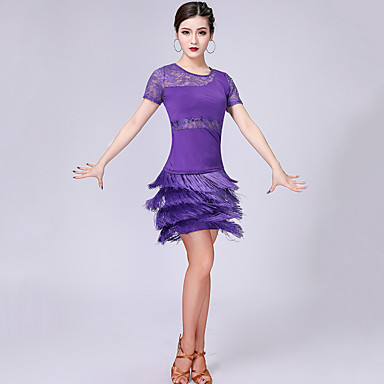 라틴 댄스 의상 여성용 성능 우유 섬유 레이스 / 태슬 / 스플리트 조인트 짧은 소매 드롭 치마 / 탑