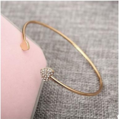 baratos Bangle-Mulheres Zircônia Cubica Pulseiras Algema Clássico Coração Fashion Liga Pulseira de jóias Dourado Para Diário Escritório e Carreira