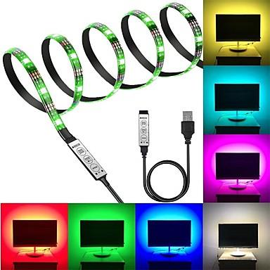 abordables Bandes Lumineuses LED-kwb 5v rgb lumières de bande 180 leds 5050 smd 3m led bande lumineuse 3 touches télécommande rgb tv lumière de fond