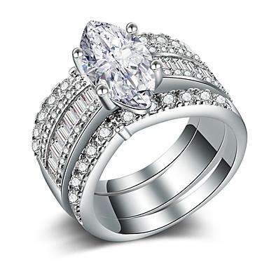 voordelige Dames Sieraden-Dames Ring Set Micro Pave Ring Kubieke Zirkonia 3 stuks Goud Zilver Koper Verguld Geometrische vorm Luxe Uniek ontwerp Lahja Dagelijks Sieraden Klassiek HALO aar Cool Schattig