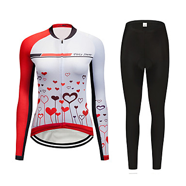 FirtySnow Women's Long Sleeve Cycling Jersey with Tights Red and White Cartoon Bike Clothing Suit Breathable Moisture Wicking Quick Dry Sports Polyester Cartoon Mountain Bike MTB Road Bike Cycling