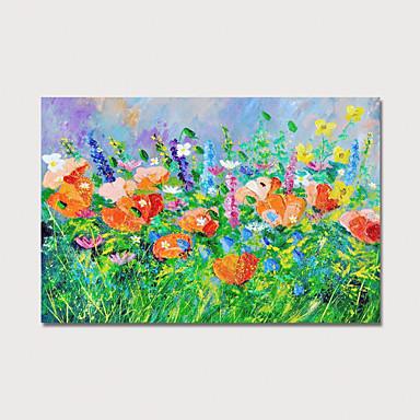 Peinture à l'huile Hang-peint Peint à la main - Abstrait A fleurs / Botanique Moderne Inclure cadre intérieur