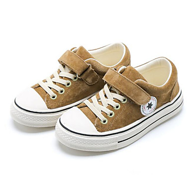 voordelige Babyschoenentjes-Meisjes Varkensleer Sneakers Peuter (9m-4ys) / Little Kids (4-7ys) Comfortabel Zwart / Khaki Lente & Herfst