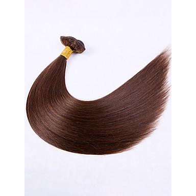 baratos Extensões de Cabelo Natural-7 pacotes Cabelo Brasileiro Liso Cabelo Virgem Extensor 18 inch Marrom Tramas de cabelo humano extensão Tecido Natural Extensões de cabelo humano Mulheres