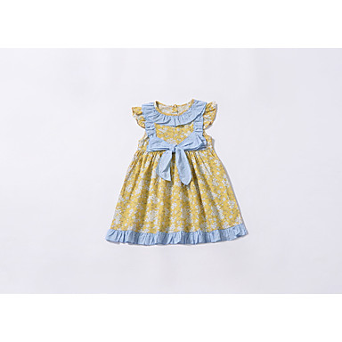 294476ce29 Baby Girls  Basic Floral Sleeveless Cotton Dress Yellow