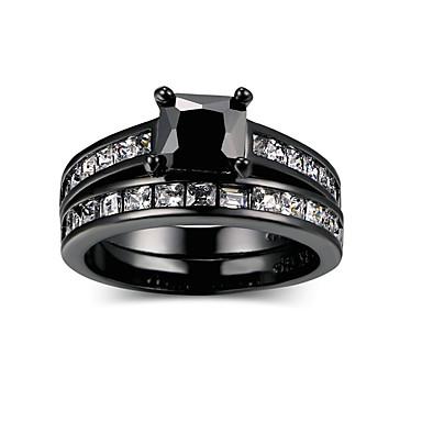 billige Motering-Dame Svart Kubisk Zirkonium geometriske Ring Set Legering Heldig Mote Hip-hop Motering Smykker Svart Til Bryllup Engasjement Gave 5 / 6 / 7 / 8 / 9