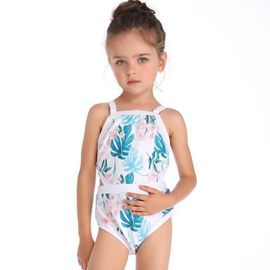 baratos Roupas de Banho para Meninas-Infantil Bébé Para Meninas Básico Estilo bonito Esportes Praia Floral Geométrica Com Corte Sem Manga Roupa de Banho Azul Claro