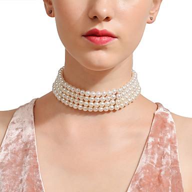 billige Mote Halskjede-Dame Safir Perlehalskjede Statement Asiatisk Imitert Perle Sølv 28 cm Halskjeder Smykker 1pc Til Bryllup Bursdag Aftenselskap Ferie Bar