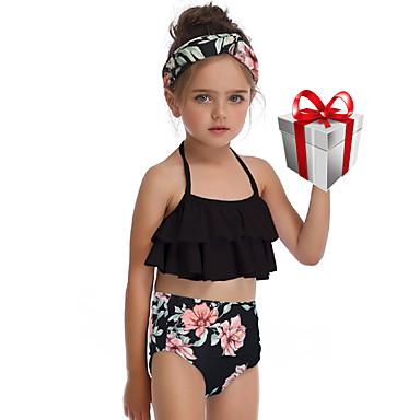 baratos Roupas de Banho para Meninas-Infantil Bébé Para Meninas Básico Estilo bonito Esportes Praia Floral Frufru Sem Manga Roupa de Banho Preto