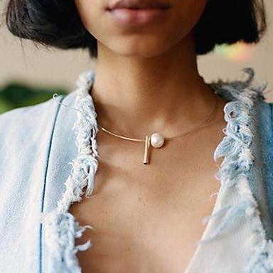 povoljno Modne ogrlice-Žene Pozlaćene Geometrijski Floating jeftino Jednostavan Moda Biseri Krom Zlato Pink 49 cm Ogrlice Jewelry 1pc Za Dnevno