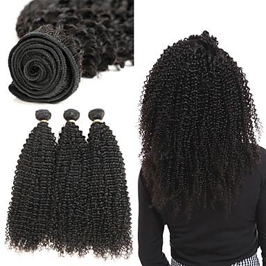 Lot de 3 Cheveux Brésiliens Kinky Curly Cheveux Naturel Rémy Extensions Naturelles 8-22 pouce Tissages de cheveux humains Doux Meilleure qualité Nouvelle arrivee Extensions de cheveux Naturel humains