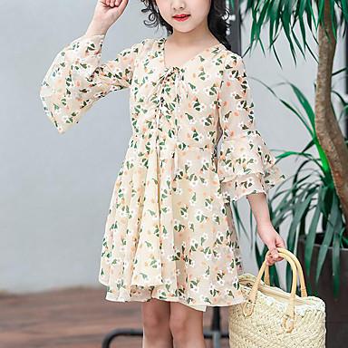 baratos Vestidos para Meninas-Infantil Para Meninas Estilo bonito Moda de Rua Floral Estampado Manga 3/4 Vestido Bege