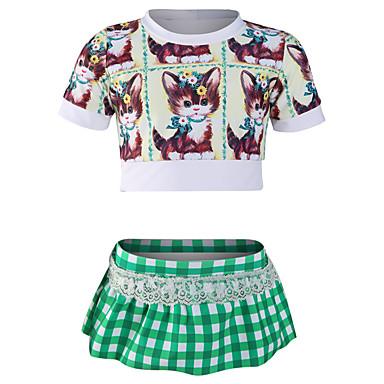 JIAAO Djevojčice Kupaće suknjice Ultra Light (UL) Podesan za nošenje Udobnost Chinlon Kratkih rukava Kupaći kostimi Plaža Nosite Kupaći kostimi Kolaž 2 dijela Plivanje / Rastezljivo