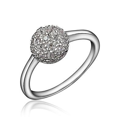 billige Motering-Dame Ring / Micro Pave Ring Kubisk Zirkonium 1pc Gull / Sølv 18K Gullbelagt / Fuskediamant Stilfull / Luksus / Romantikk Fest / Engasjement / Gave Kostyme smykker