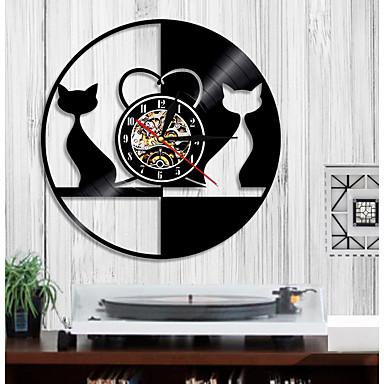 1 kus retro design láska kočka nástěnné hodiny zvířecí vinyl záznam hodiny pár kočka domácí dekorace