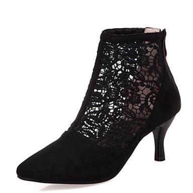 povoljno Ženske čizme-Žene Čipka / Sintetika Proljeće ljeto Čizme Stiletto potpetica Krakova Toe Čizme gležnjače / do gležnja Crn